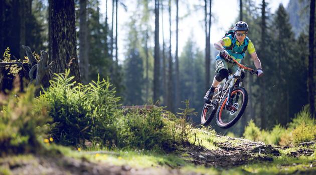 Mountainbiker beim Downhill-fahren in Großarl im Sommerurlaub in Großarl, Salzburger Land