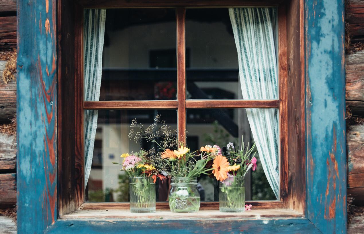 Blumen auf Fensterbank vor der Nessleralm in Großarl